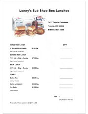 Lenny's Sub Shop Order Form